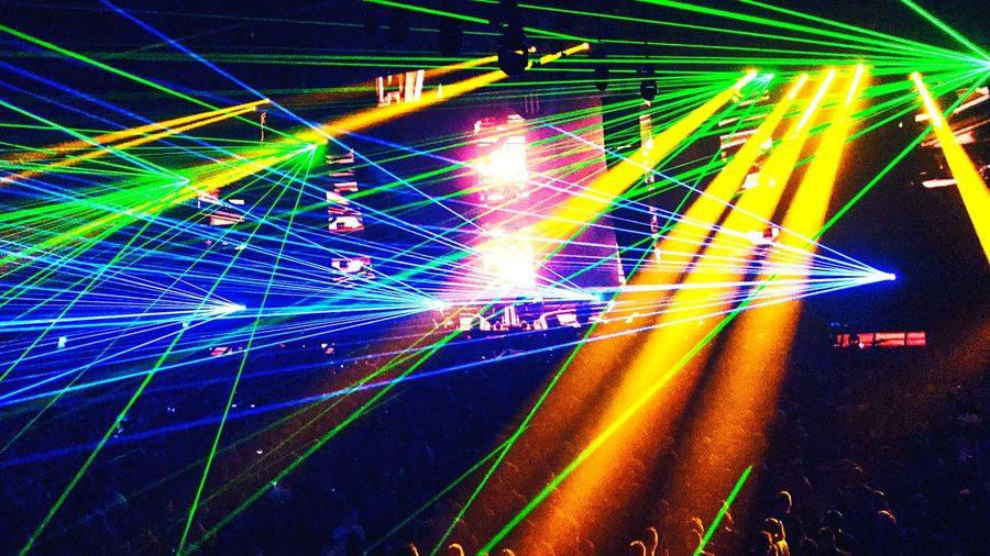 Colorful Lazer Angerfist Illuminated Night Laser Nightlife Multi Colored Light Trail AI Now! Popular Music Concert AI Now