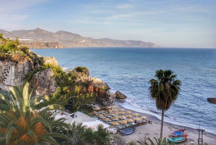 Beach Beauty In Nature Coastline High Angle View Horizon Over Water Landscapes With WhiteWall Mountain Mountain Range Nature Nerja Nerja Andalucia Nerja Coast Palm Tree Sand Scenic Views Scenics Sea Sea View Sea Views Shore Sky Tranquil Scene Tranquility Vacations Water