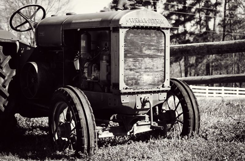 Field Tractor Farm Life Farm Farmland Vintage McCORMICK McCormick Deering Fence Blackandwhite Photography Black And White