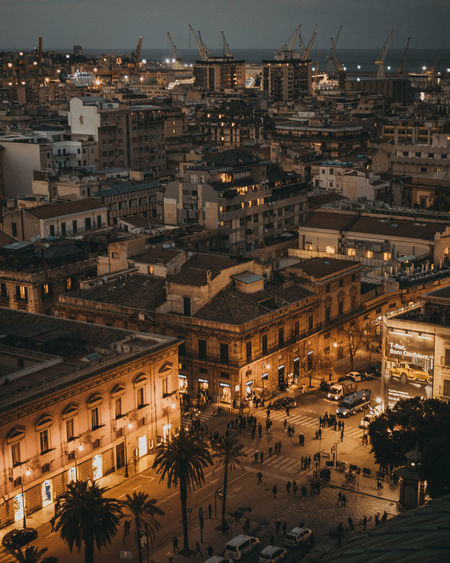 The amazing view from above HUAWEI Photo Award: After Dark Palermo❤️ Architecture City City Life Cityscape High Angle View Illuminated Italy Lightroom Lights And Shadows Mood Night Outdoors Vscocam