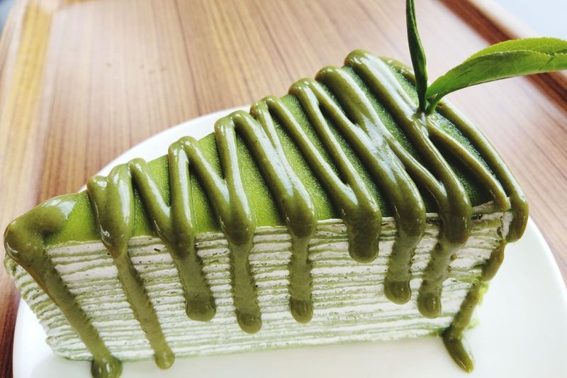 Greentea Cake Bakery Sweet Bakery Thailand Close-up Food And Drink Green Color