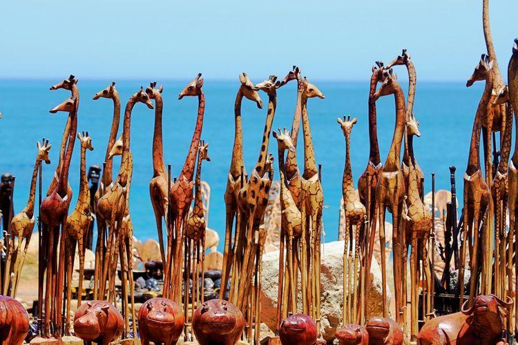 African Souvenirs Day Decoration Giraffes No People Outdoors Souvenir Wooden Giraffes