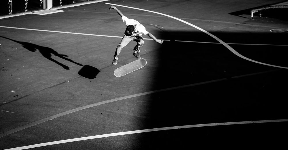 A Bird's Eye View Skateboarding Blackandwhite