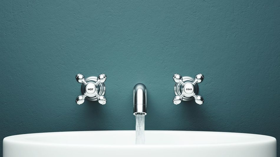 Faucet On The Wall Faucet Chrome Wall Green Copy Space Water Flowing Bathroom Modern Basin Washing Basin Hot Cold Fixture The Graphic City