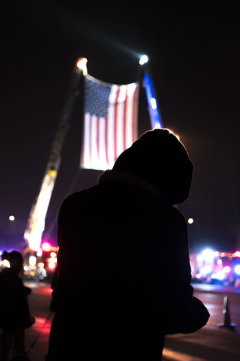 American Flag Cops Back The Blue Blue Lives Matter Illuminated Lifestyles Night Police Silhouette