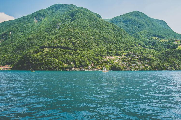 Scenic View Of Lugano Lake