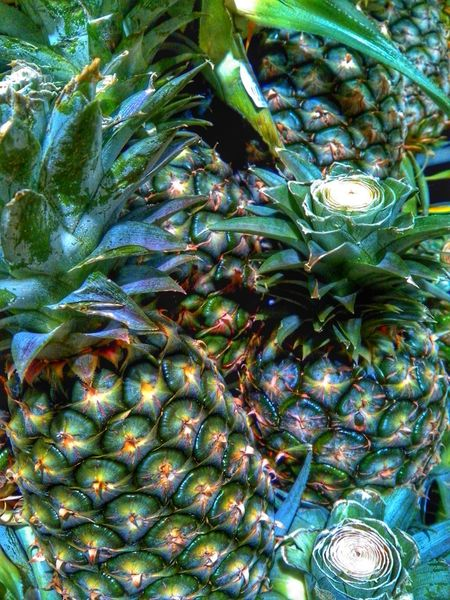Pineapple Tropical Fruits 1000eyes Geeen Full Frame Close-up Maximum Closeness