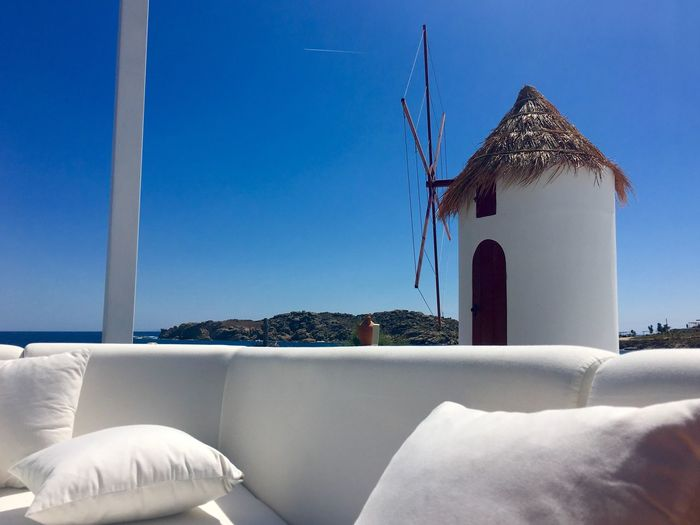Pillows On Sofa By Traditional Windmill At Mykonos