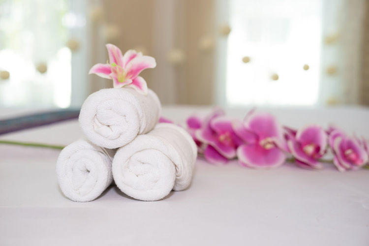 Bathroom Beauty Beauty In Nature Clean Close-up Flower Flowering Plant Focus On Foreground Freshness Indoors  Luxury Nature No People Pink Color Plant Purple Relaxation Selective Focus Softness Spa Treatment Towel Wealth White Color