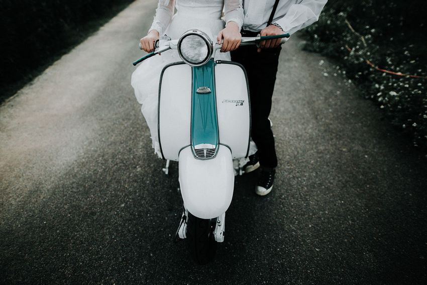Lambretta Adult Baby Carriage Business Casual Clothing City Day High Angle View Holding Lifestyles Low Section Men One Person Outdoors Real People Road Standing Street Transportation Walking