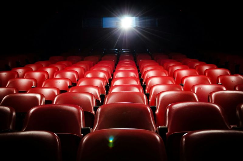 Theater Art In A Row Red Seat Empty Chair Indoors  Auditorium