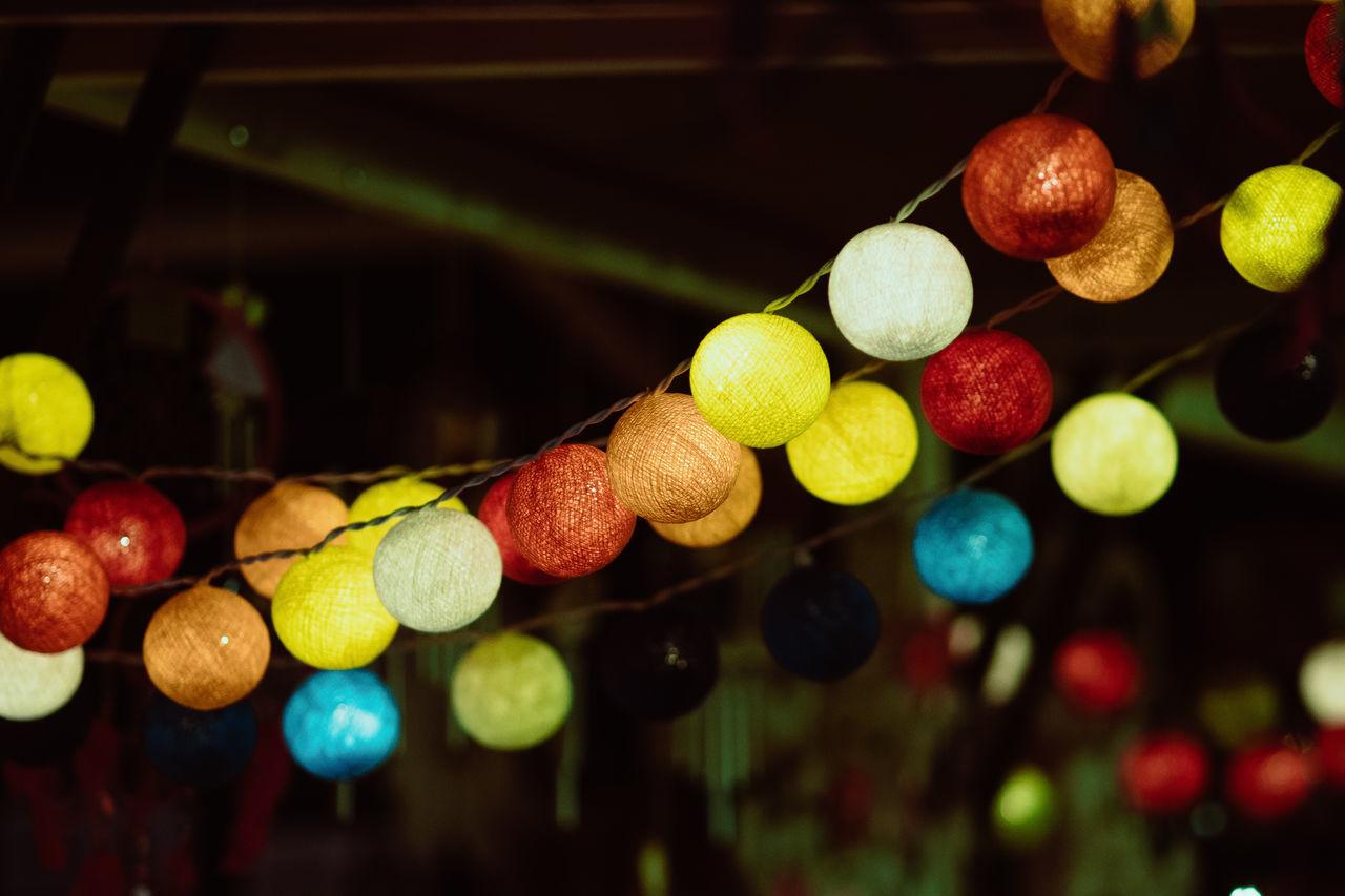 Close-Up Of Multi Colored Illuminated Decoration