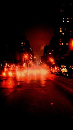 Redlight Traffic Night Lights Newyorkcity
