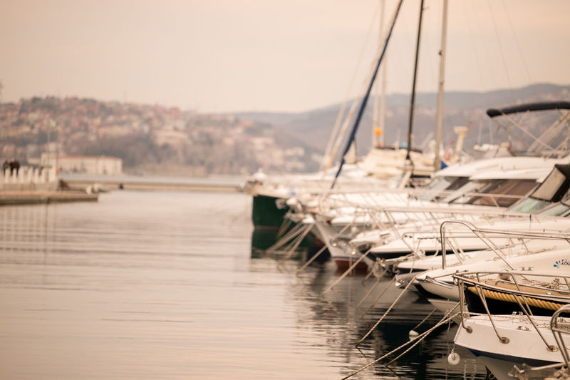 Boats moored at port in bosphorus