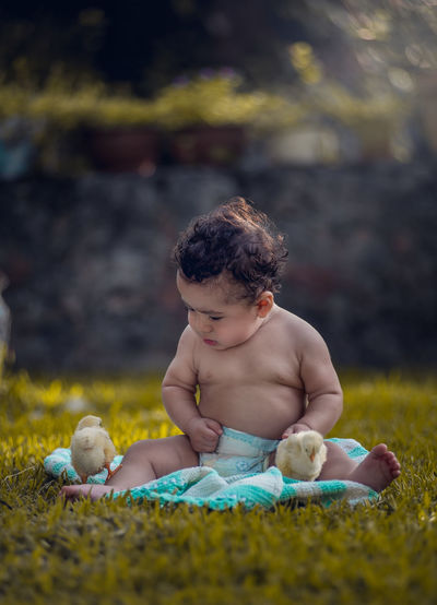 Cute baby outdoors