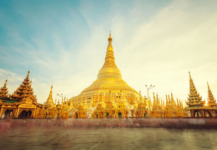 Gold Pagoda Travel Architecture Blue Sky Building Exterior Built Structure Burma Culture Day Gold Colored Landmark Myanmar Nature No People Outdoors Pagoda Place Of Worship Religion Shwedagon Sky Spirituality Traditional Travel Destinations Yagon