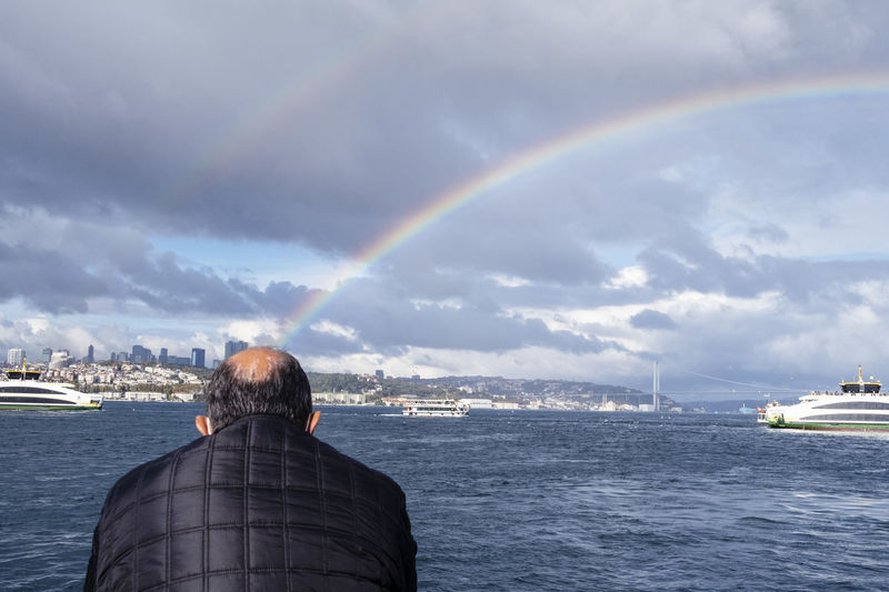 Rear view of rainbow over sea against sky