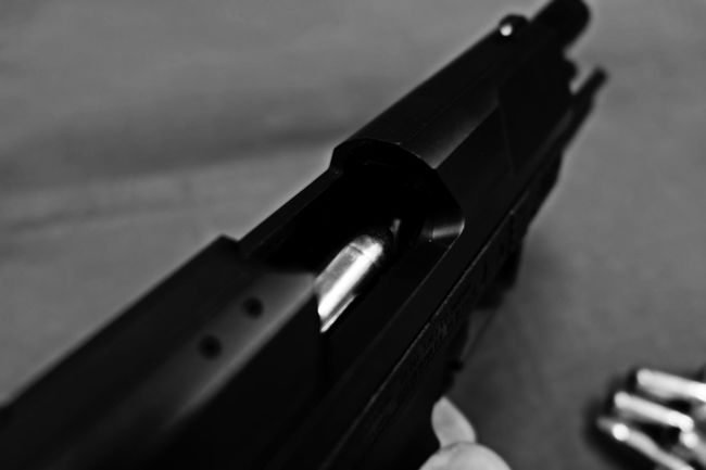 Ammo Black & White Black And White Black And White Photography Black Color Bullets Close-up Deadly Equipment Focus On Foreground From My Point Of View FUJIFILM X-T10 Gun Macro Reload Reloading Selective Focus Walther Wasiak Weapon