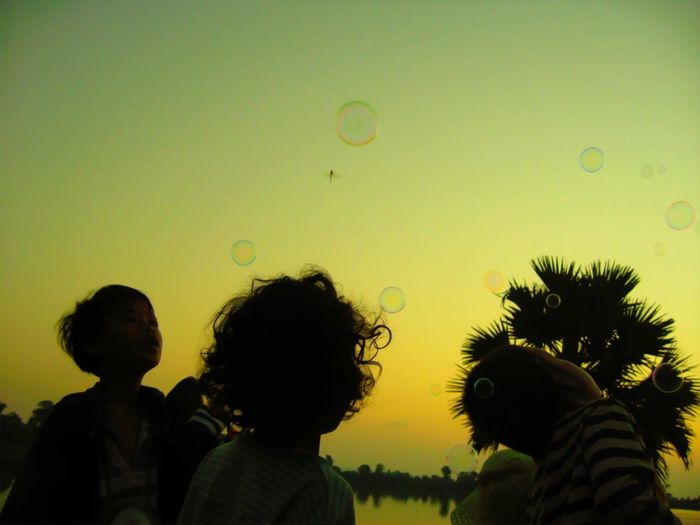 Bubble and Children in the Sky - Magic Sunrise - Cambodia Srah Srang