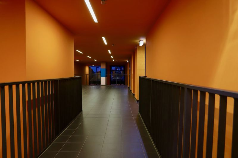 Hallway Lights Shadows & Lights Architecture Black And Orange Built Structure Day Fence Illuminated Indoors  Intense Colors No People Orange Color Shadow Stripes Pattern The Way Forward Colour Your Horizn