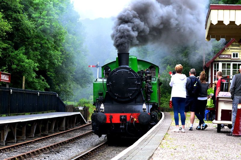 Architecture Built Structure Casual Clothing Churnet Valley Railway Cloud Cloud - Sky Cloudy Coming Home Day Full Length Leisure Activity Lifestyles Outdoors Sky Smoke - Physical Structure Steam Locomotive Steam Preservation Steam Train The Train Arriving Travel Destinations Weather