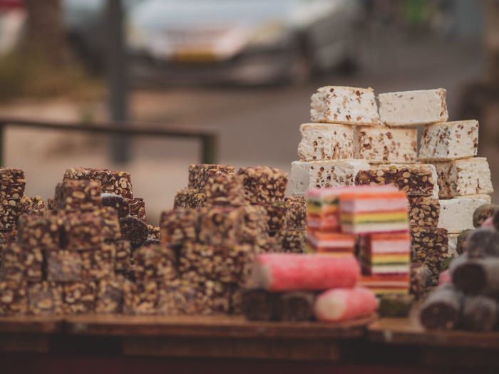 Close-Up Of Protein Bars On Table