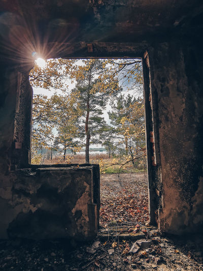 Old window in abandoned building