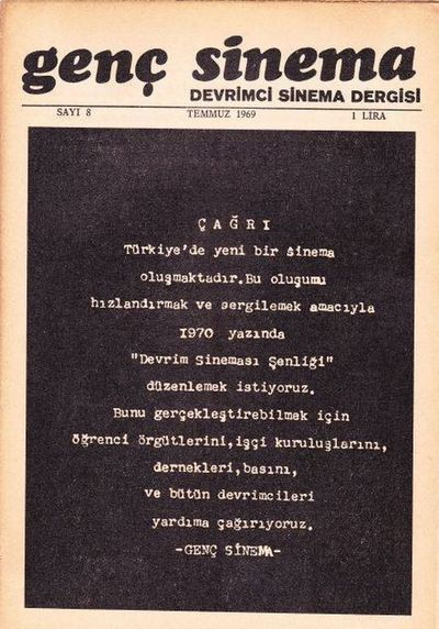 1969 Genç Sinema Devrimci çağrı Dergi