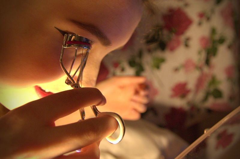 Eye Eyelash Curler Make Up Time Woman Feminity Concentrated Beauty Human Hand Close-up Human Eye