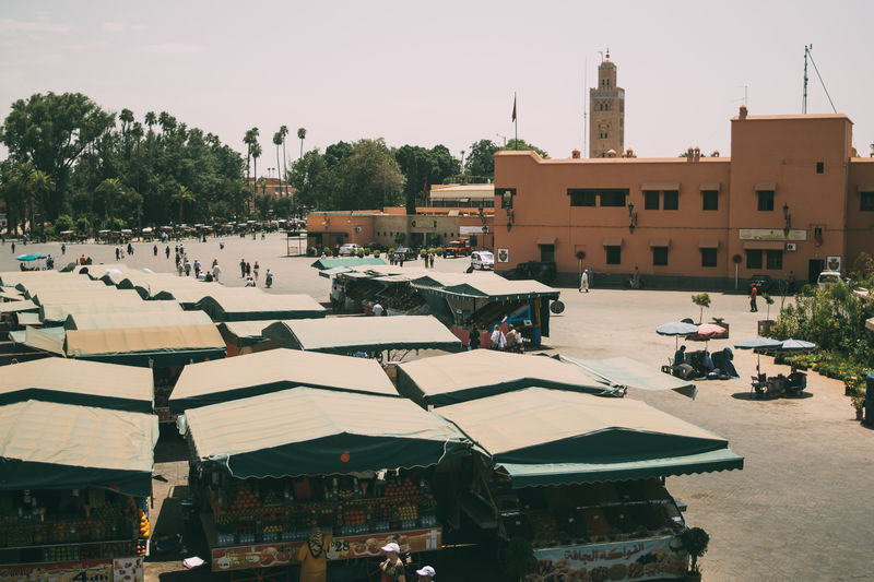 City High Angle View Jamaa El Fna Market Marrakech Morocco Square Stalls Street