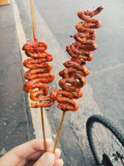Street Food Isaw Chicken Intestine Food Eyeem Philippines