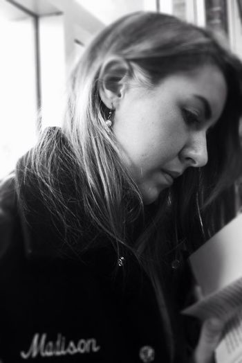 Maddi reading a book at solo and ensemble today.