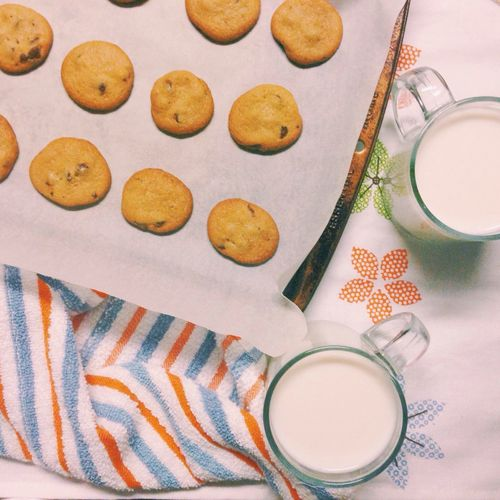 Close-up of cookies and milk