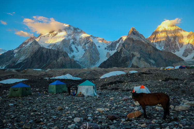 Camping tents at concordia camp, broadpeak mountain, k2 base camp, pakistan