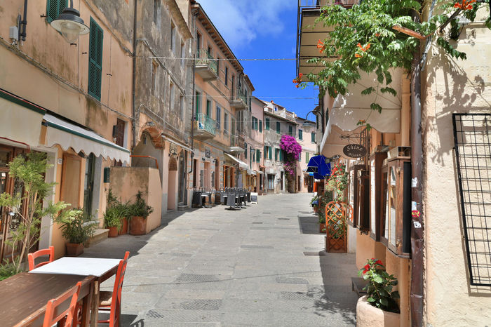 Architecture Building Exterior Capoliveri City Day Italy Multi Colored Sky Street