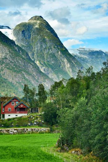 Beautiful Nature EyeEmNewHere Fresh Air Norway Travel Photography Wanderlust Beauty In Nature Environment Green Color House Landscape Mountain Mountain Peak Mountain Range Nature No People Outdoors Picturesque Scenery Scenic Landscapes Scenics - Nature Tranquil Scene Travel Destinations