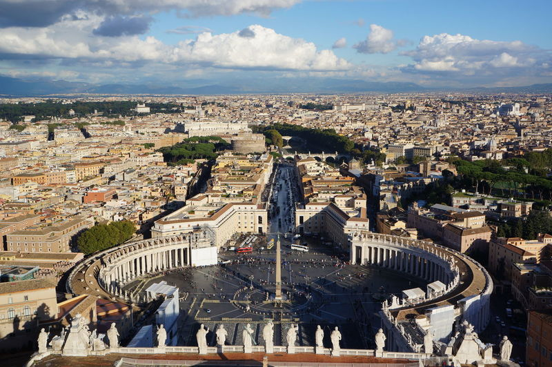 High angle view of st peters square against sky in city