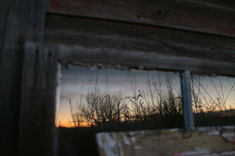Reflection Sunset Farm Old Window Winter Saskatchewan Land Of Living Skys Silhouette Praries