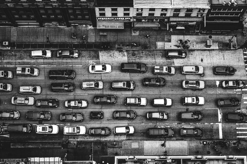 High angle view of traffic in city