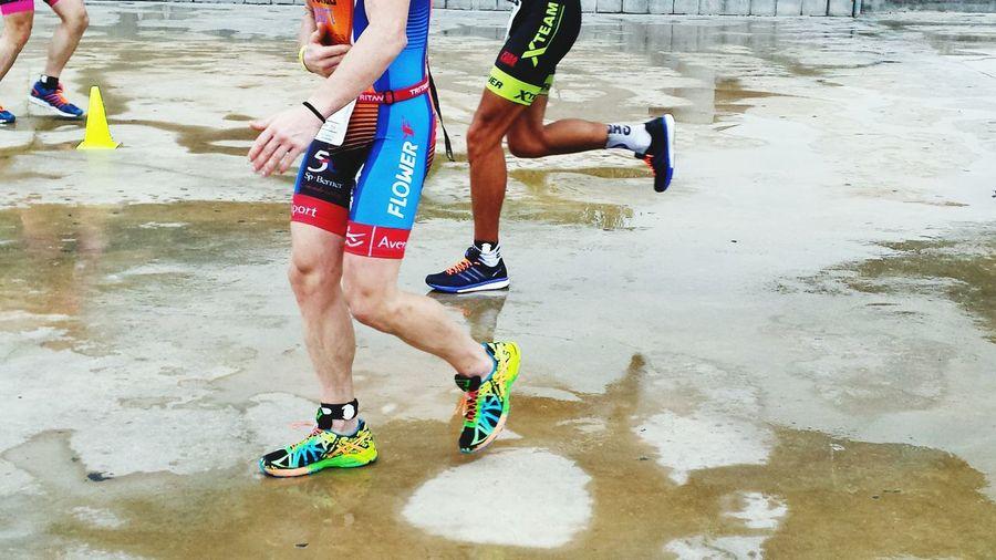 Excercise Time TRIATHLON Rany Day Reflections Run Run Run With Effort Runner