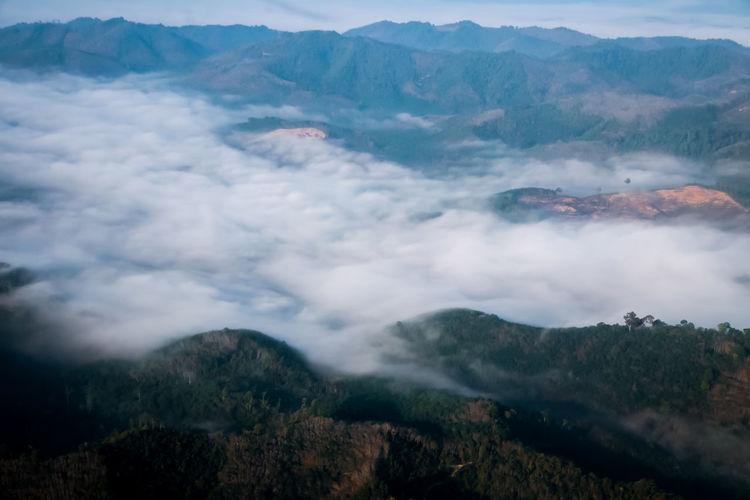 Misty sea among the high sky