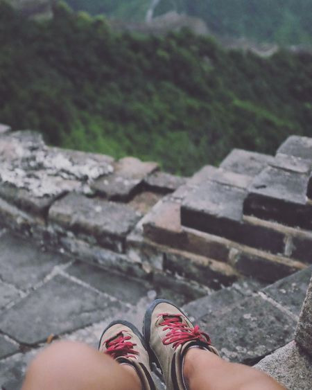 Shoes One Person Human Leg Human Body Part Low Section Outdoors Close-up Shoe Day Nature Nature Landscape Camping Mountain Great Wall Of China Hike No People Great Wall China