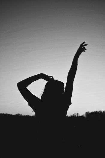 Silhouette Real People Clear Sky One Person Sky Lifestyles Outdoors Women Young Adult Nature People Blackandwhite Black And White Portrait Portrait Of A Woman Portrait Of A Friend