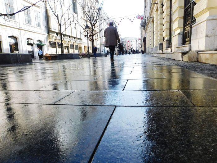 Wet Rain Reflection Rainy Season Water Walking Weather Architecture People Outdoors City Real People Belgrade Knez Mihajlova RainDrop Long Goodbye The Street Photographer - 2017 EyeEm Awards