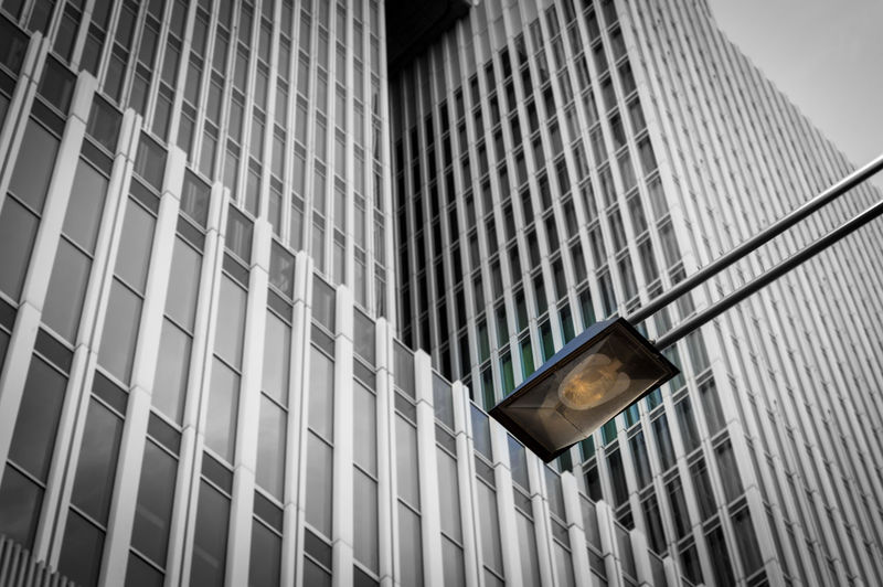 Street Light The Architect - 2018 EyeEm Awards Architecture Building Building Exterior Built Structure City Day Full Frame Geometric Shape Glass - Material Lighting Equipment Low Angle View Modern No People Office Office Building Exterior Outdoors Pattern Reflection Skyscraper Window