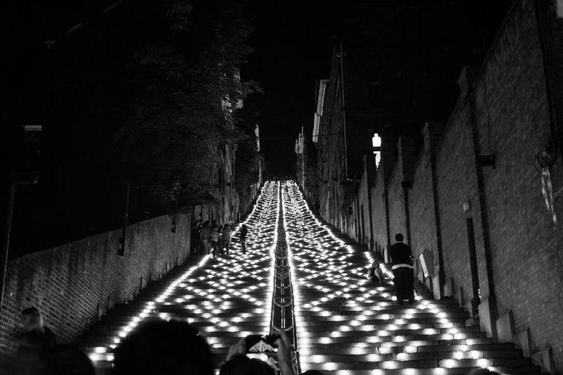 Citadelle de Liège. Coteaux de la citadelle 2016. #blackandwhite #city Lights #fairs #fire #Liège #Mountain #stairs Illuminated Night