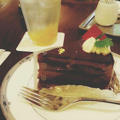 柚ソーダとチョコケーキ。 Cafe Time Citronsoda