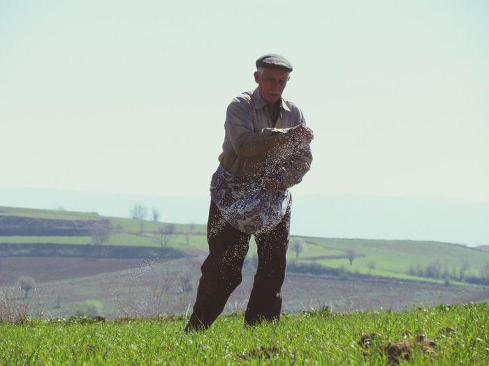 Senior Farmer Spreading Fertilizer On Farm Against Clear Sky