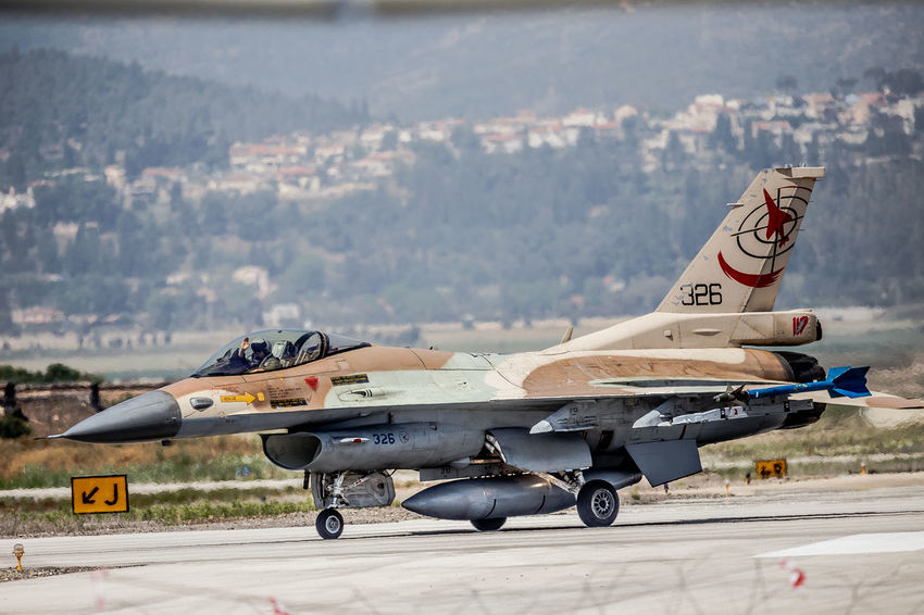 Air Vehicle Airplane Armed Forces Aviation Blue Sky F-16 Fighting Falcon Flight General Dynamics IAF Israeli Air Force Military Runway Taxiing Transportation