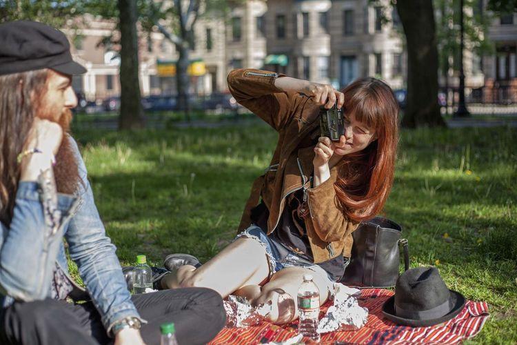 Women sitting in park